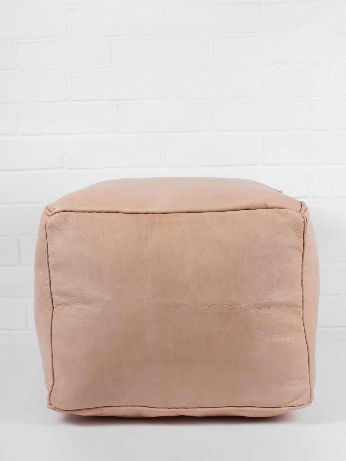 Moroccan Leather Plain Square Pouffe, Natural