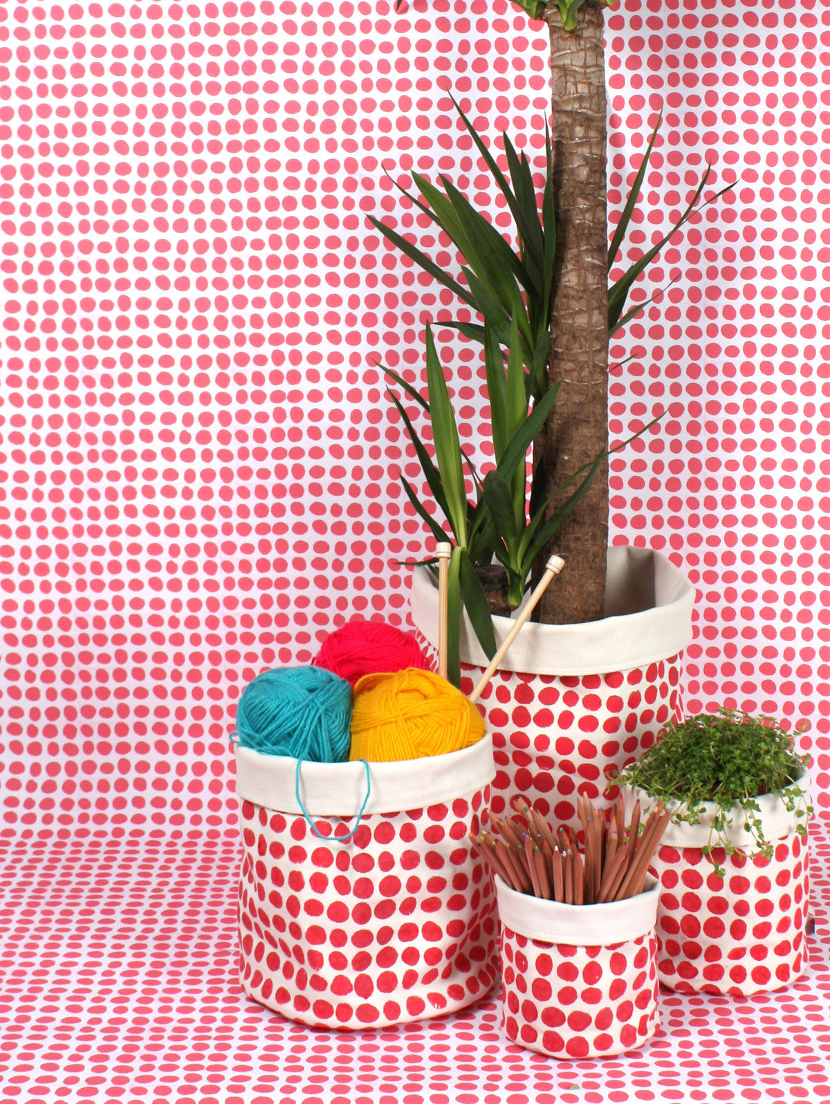 Spot Print Canvas Storage Pots, Hot Pink