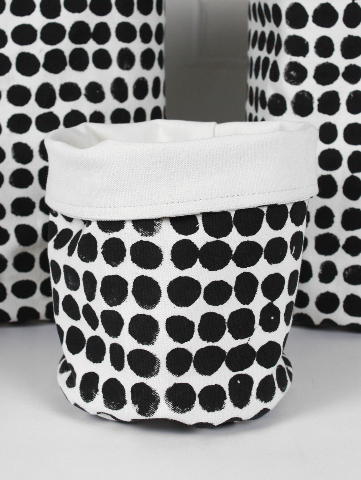 Spot Canvas Storage Pots, Black