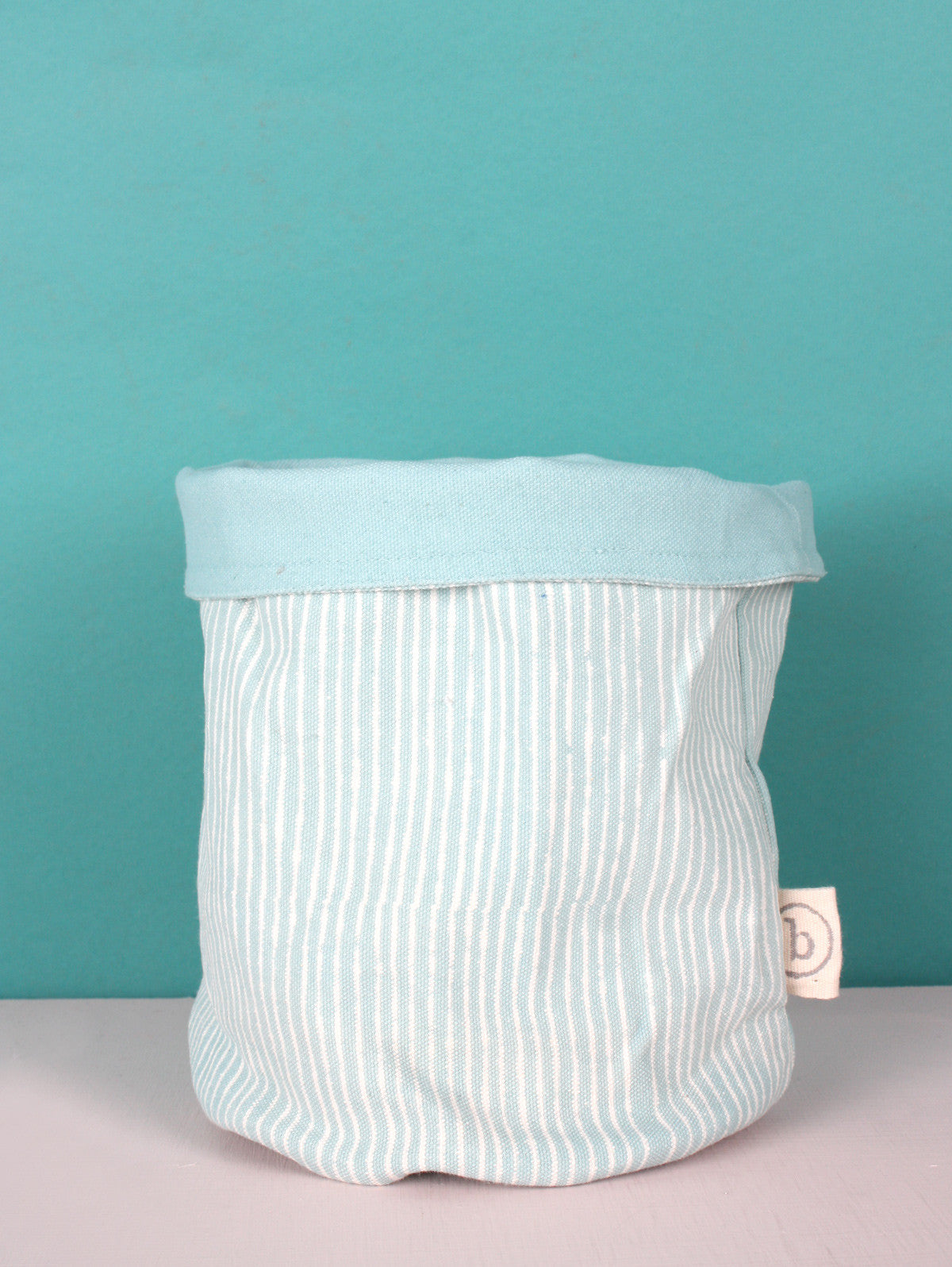Stripe Canvas Storage Pots, Duck Egg