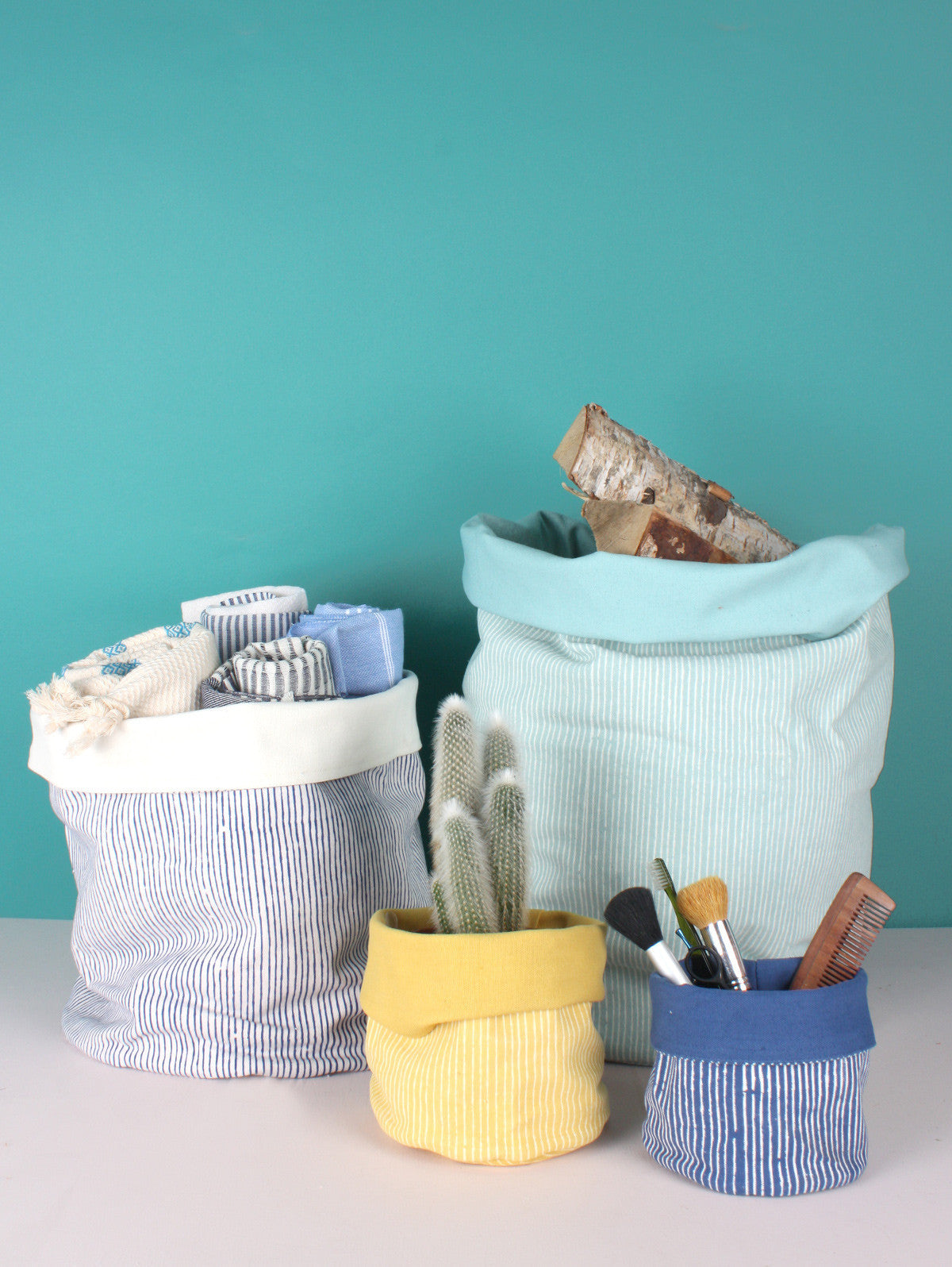 Stripe Canvas Storage Pots, Mustard