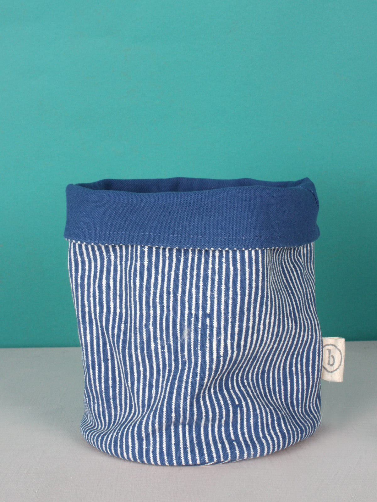 Stripe Canvas Storage Pots, Indigo