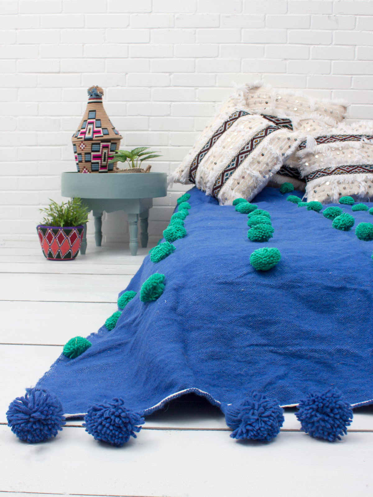 Wool Super Pom Pom Blanket, Cobalt