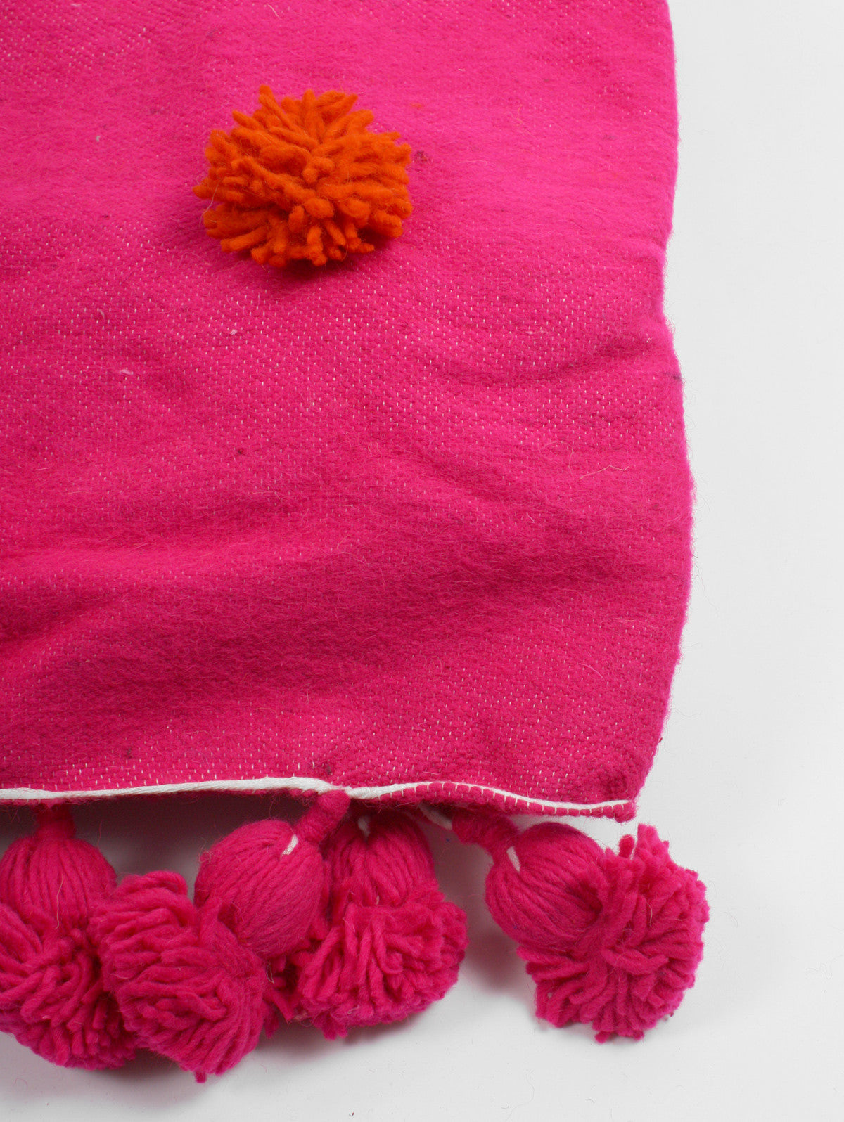 Wool Super Pom Pom Blanket, Pink