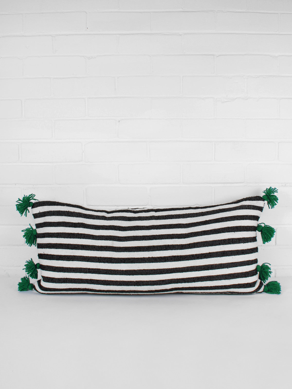 Stripe Rectangle Pom Pom Cushions, Green