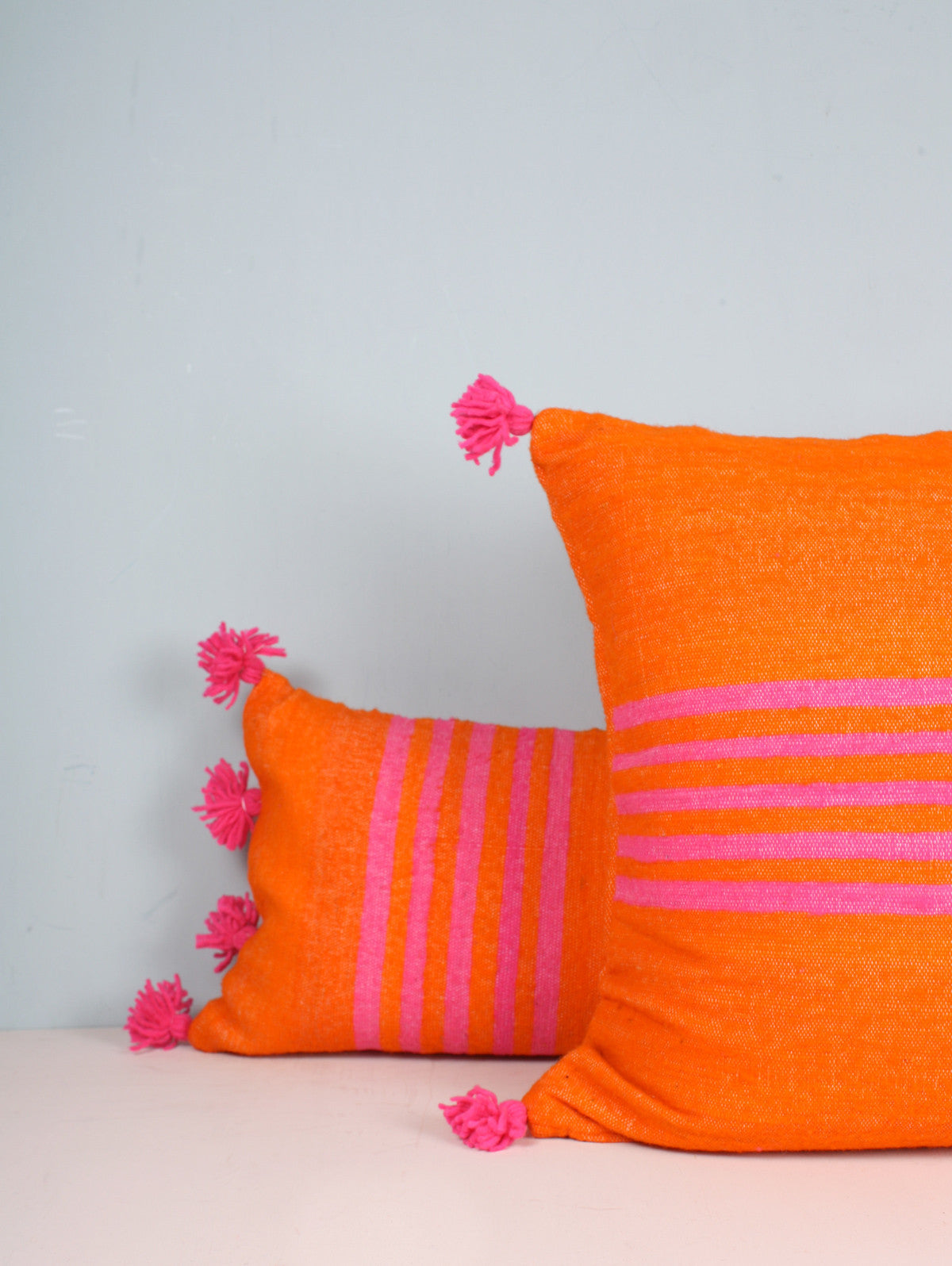 Wool Pom Pom Cushions, Orange