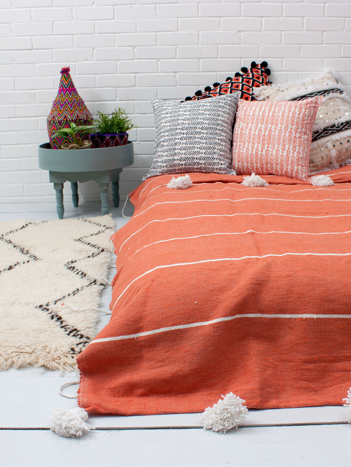 Tassel Pom Pom Blanket, Orange