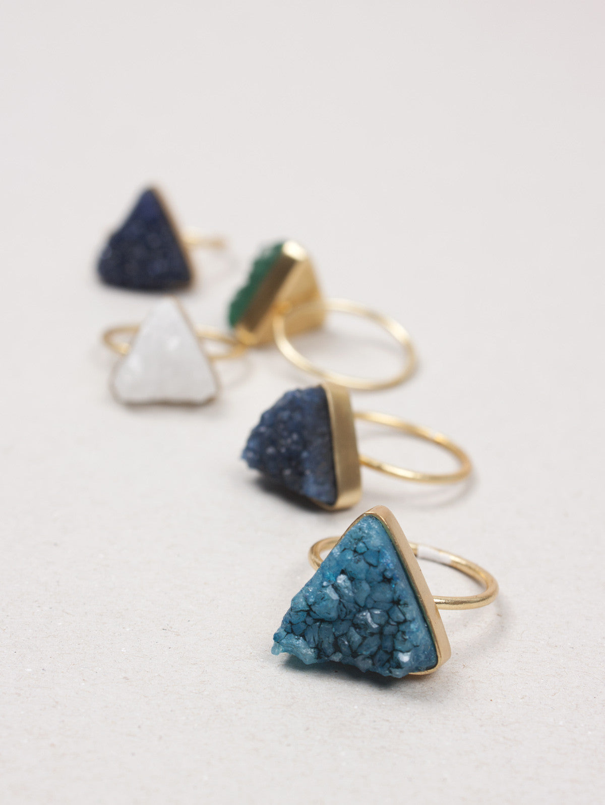 Triangle Druzy Ring, Jade Green