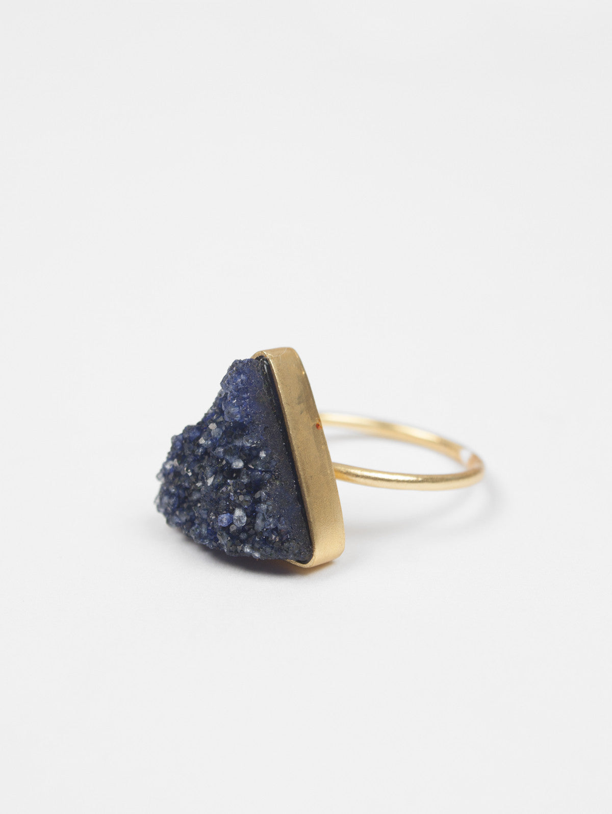 Triangle Druzy Ring, Indigo