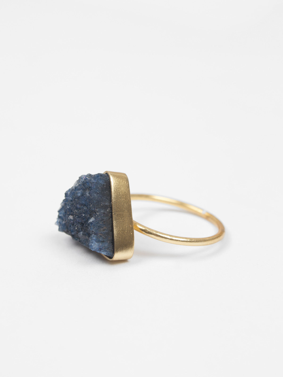 Triangle Druzy Ring, Iolite