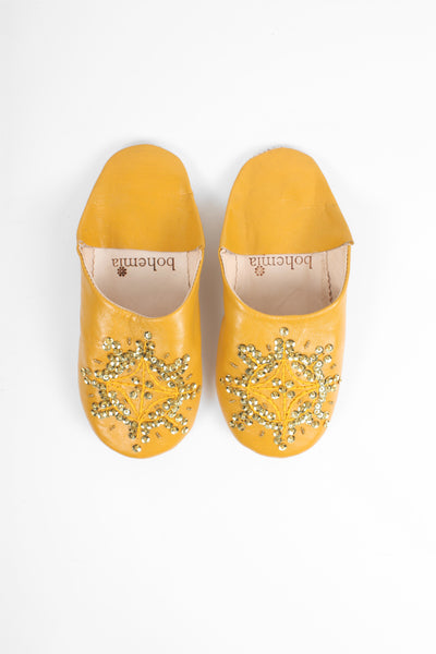Slippers & Clogs Bohemia Design | Moroccan Babouche Sequin Slippers Slight Seconds, Large () , Mustard