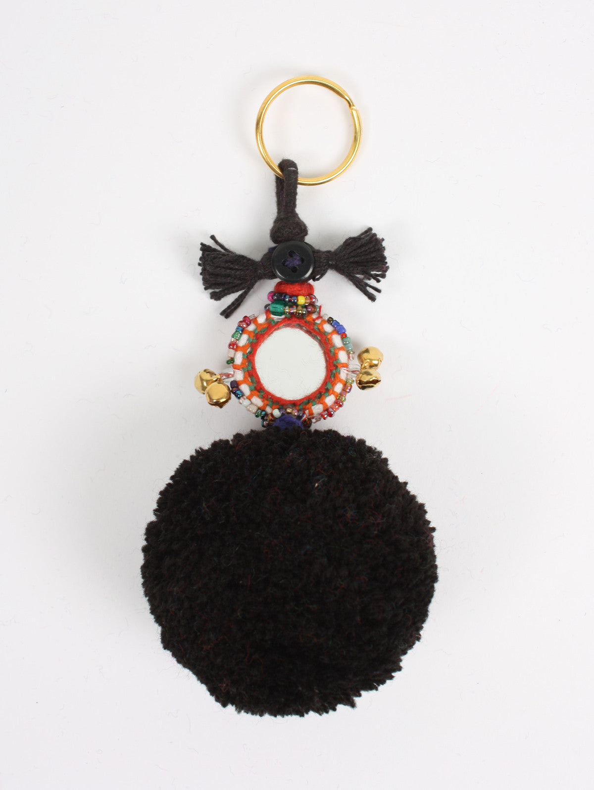 Pom Pom Mirror Keyrings, Black