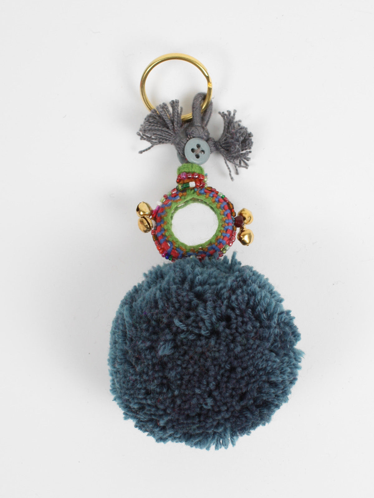Pom Pom Mirror Keyrings, Grey