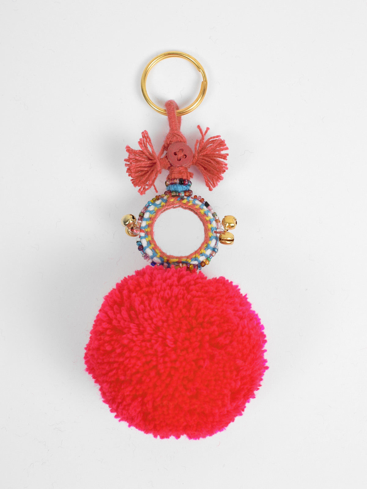 Pom Pom Mirror Keyrings, Red