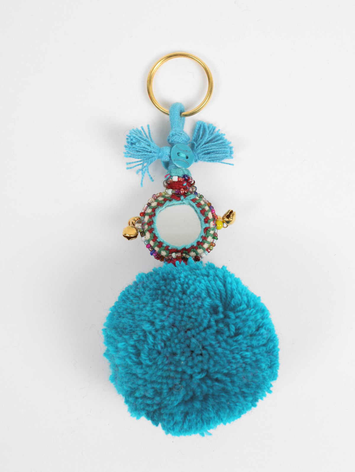 Pom Pom Mirror Keyrings, Sky Blue