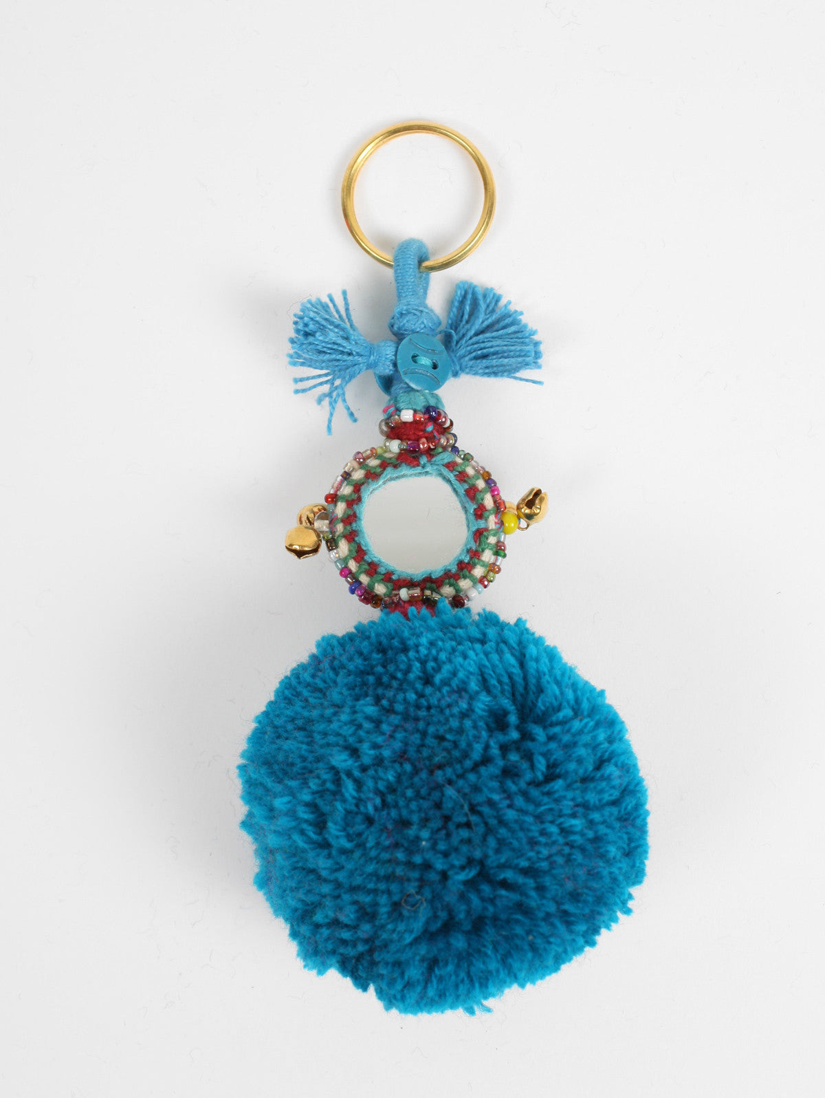 Pom Pom Mirror Keyrings, Teal
