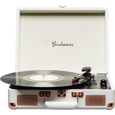 Goodmans Ealing Portable Suitcase Vinyl Turntable 手提黑膠唱盤 - White - Goodmans - Vinyl Turntable - ListenExpert Hong Kong Buy Headphones Bluetooth Speakers 購買耳機藍芽喇叭專門店