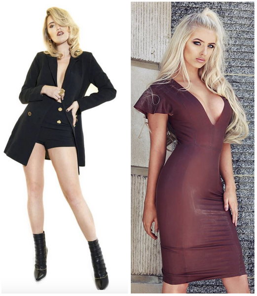 House of Maguie  Alessi tuxedo blazer shorts set Kassaya Chocolate latex bandage dress