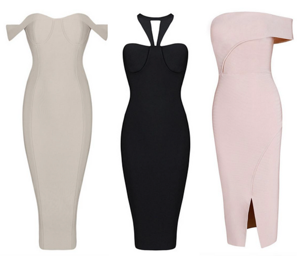 So Bardot nude bandage dress Celine Black halter dress Julia Rose Micah Gianneli dress