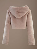 LUXUO NUDE VEGAN FUR HOODED LUXE PREMIUM JACKET - HOUSE OF MAGUIE