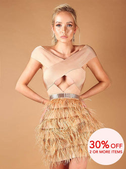 ALANA NUDE CROSS SHOULDERS OSTRICH FEATHER BANDAGE DRESS