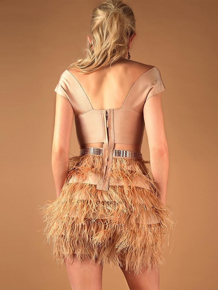 ALANA NUDE CROSS SHOULDERS OSTRICH FEATHER BANDAGE DRESS - HOUSE OF MAGUIE