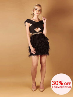 ALANA BLACK CROSS SHOULDERS OSTRICH FEATHER BANDAGE  DRESS