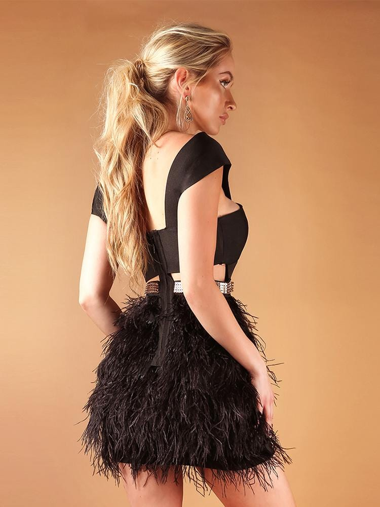 ALANA BLACK CROSS SHOULDERS OSTRICH FEATHER BANDAGE  DRESS - HOUSE OF MAGUIE