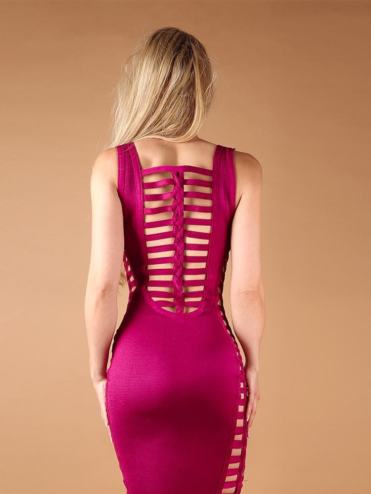 CALLA CERISE PINK SIDE CUT OUT BRAIDED BACK BODYCON BANDAGE DRESS - HOUSE OF MAGUIE