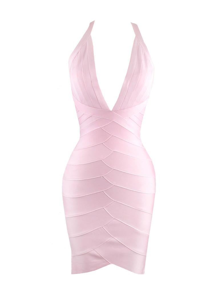 LUXO BLUSH DEEP PLUNGE BANDAGE DRESS - HOUSE OF MAGUIE