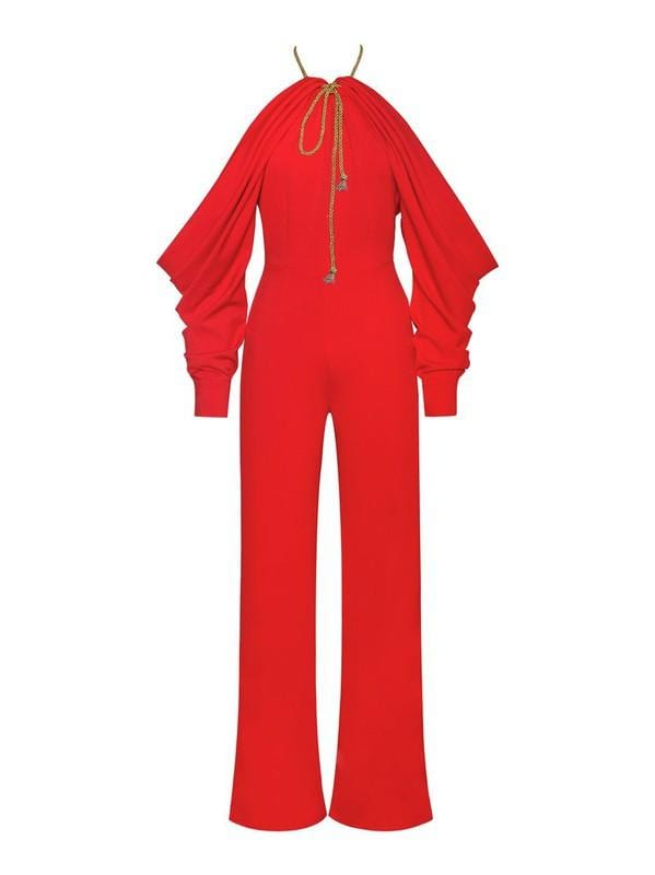 Lidia Red Halterneck Off The Shoulder Jumpsuit