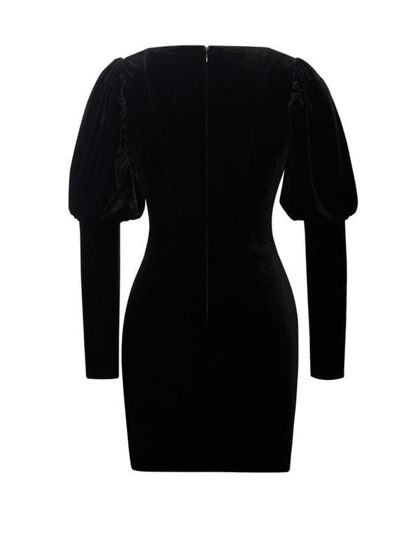 Breana Puff Sleeve Black Velvet Cocktail Dress