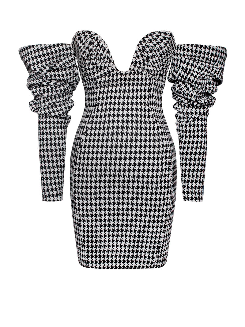 Kylie Puff Sleeve Off Shoulder Hounds tooth Dress