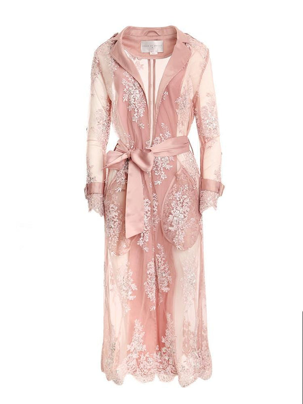 L'AMOUR ROSE LACE EMBROIDERY SATIN LACE COAT - HOUSE OF MAGUIE