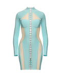 ZAYA SERENITY BLUE BODY CONTOUR BANDAGE DRESS - HOUSE OF MAGUIE
