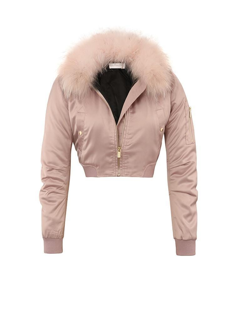 CARLIBEL BLUSH  SATIN FUR BOMBER JACKET - HOUSE OF MAGUIE