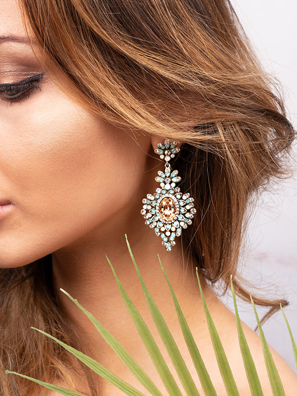 Bohemian Style Chandelier Earrings, Fashion Jewellery, Aqua Crystal Earrings,  Earrings