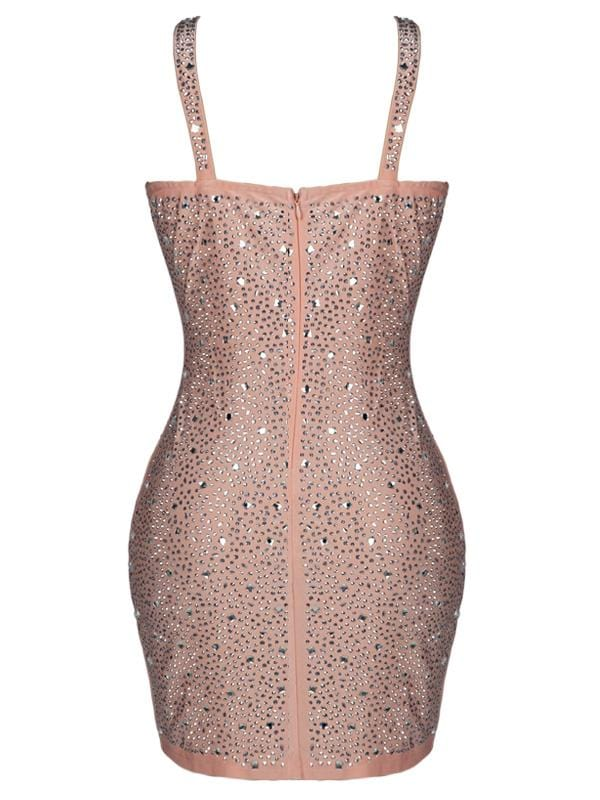 DAIA PEACH EMBELLISHED BODYCON MINI DRESS