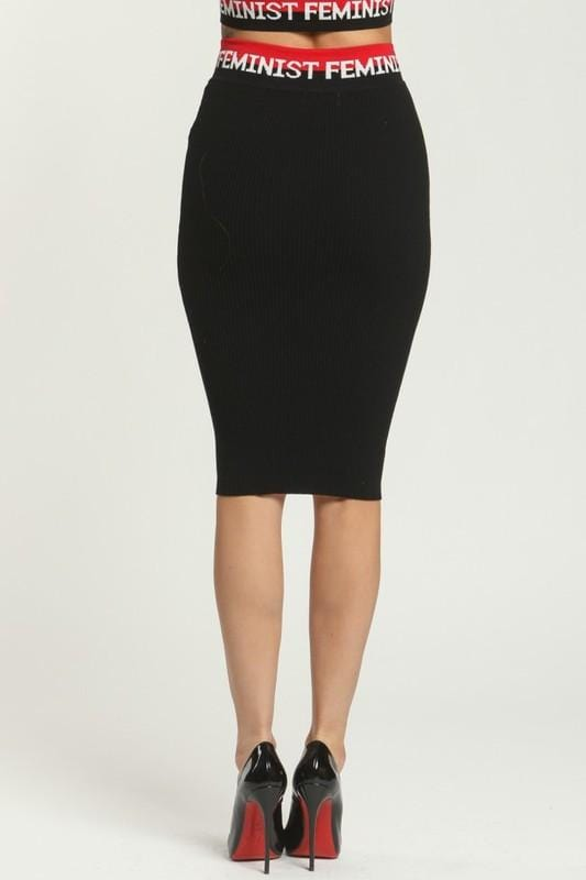 FEMINIST BLACK KNIT TOP & SKIRT SET - HOUSE OF MAGUIE