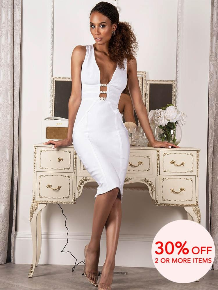 AMALIA WHITE DEEP PLUNGE RINGS EMBELLISHED MIDI LENGTH BANDAGE  DRESS