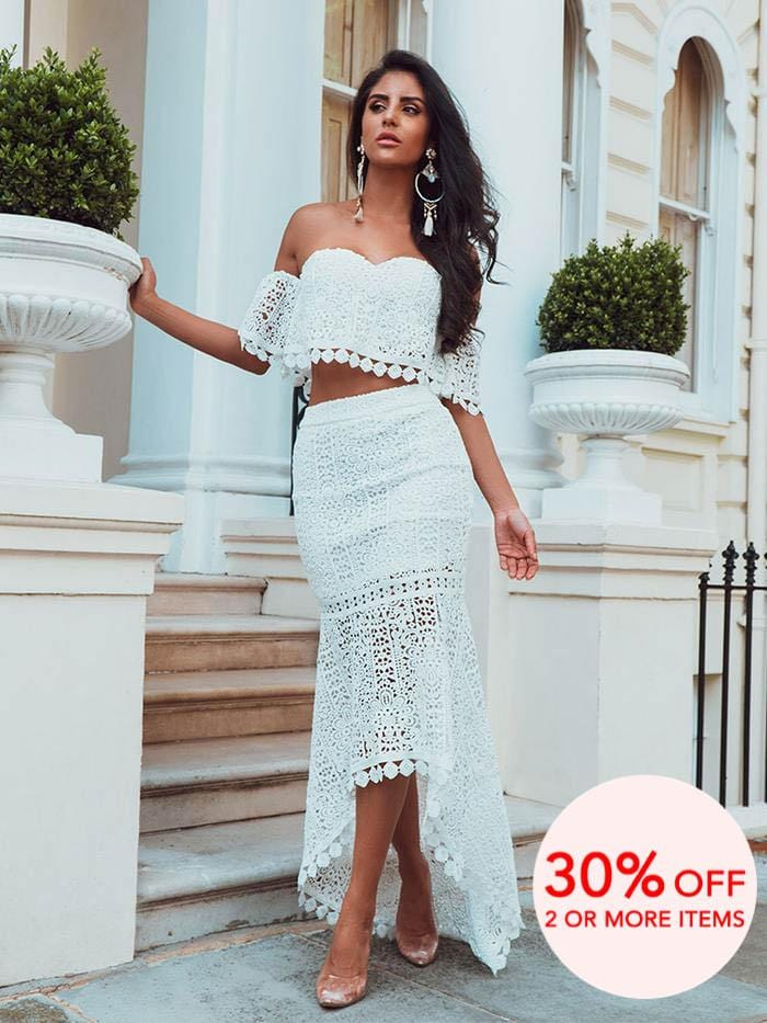 BERTA WHITE OFF THE SHOULDERS CHEMICAL LACE SET