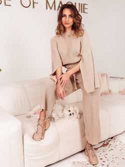 Knit Loungewear London, Cheap and Chic Loungewear, Loungewear Latte colour