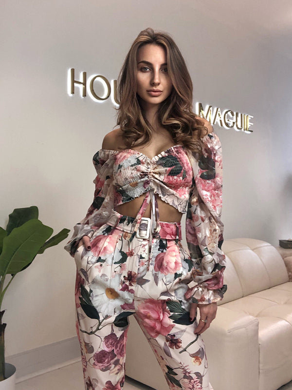 Celebrity Boutique Spring 2021 Trouser Set, Summer Troser Set, Resort Style Trouser Set, Best Trouser Set spring summer 2021, zara floral trouser set,