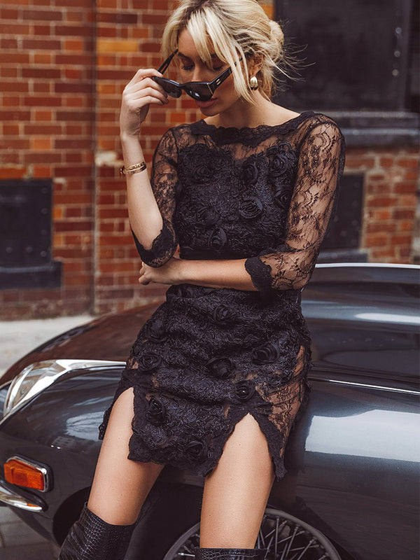 Jennifer Rose Appliqué High neckline Black Lace Mini Dress