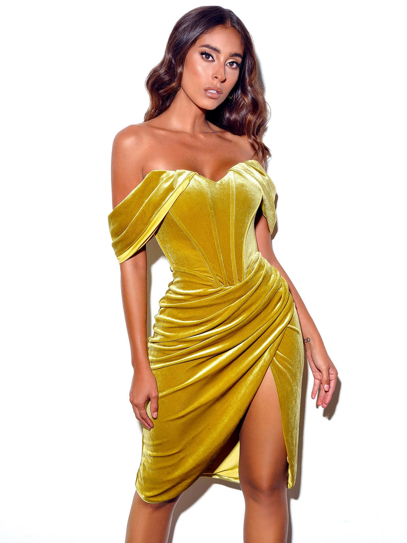 Omaria Gold Velvet Off Shoulder Corset Dress