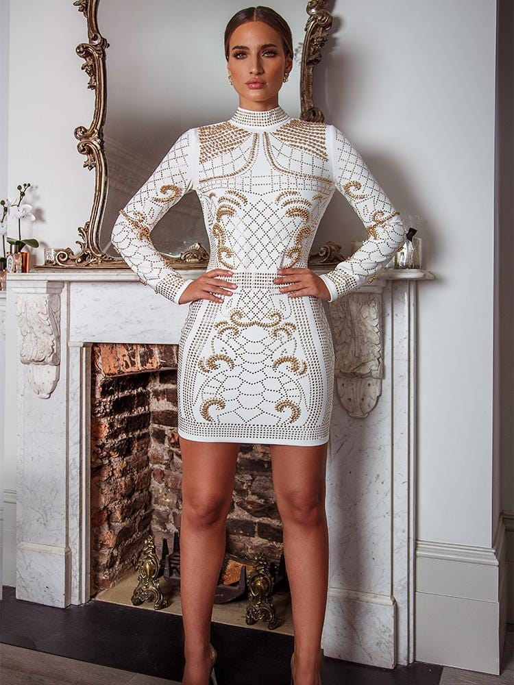 DRAMA WHITE CRYSTALS STUDDED HEAVY EMBROIDERY PREMIUM DRESS - HOUSE OF MAGUIE