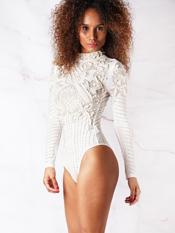 ADELA WHITE HEAVY EMBROIDERY PEARLS & CRYSTALS MESH BODYSUIT - HOUSE OF MAGUIE