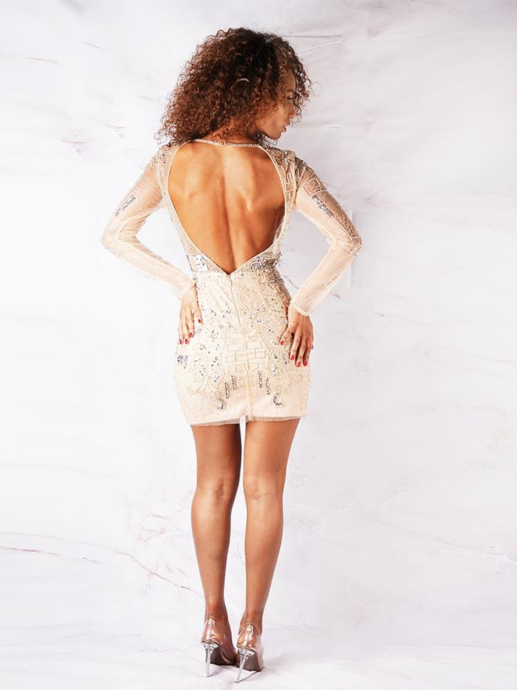 ELLA NUDE MESH PREMIUM EMBELISHED OPEN BACK COCKTAIL DRESS - HOUSE OF MAGUIE