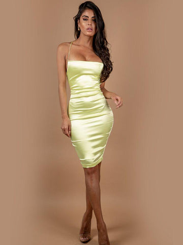 DARIA PUMPKIN COLD SHOULDER CUT SIDES BANDAGE DRESS
