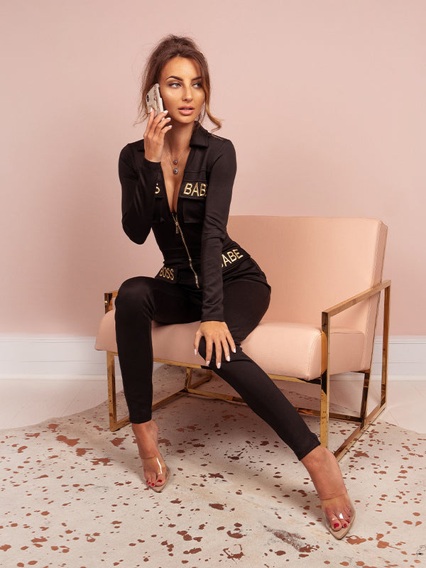Bae'sics Black Boss Babe Embroidery Open Plunge Loungewear Jumpsuit